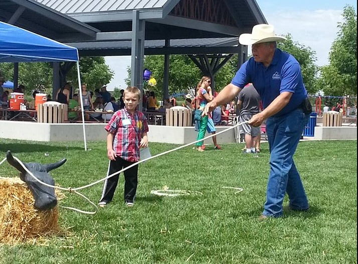 Terry Fuhriman at BBBS Teaching kid how to rope